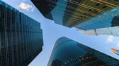 futuristic buildings : Corporate buildings and timelapse clouds Moscow city Stock Footage
