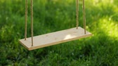 sag : Old wooden tree swing with green grass background