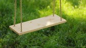 sag : Wooden swing on a background of green grass