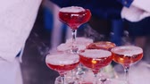 stink : Pour boiling pink drink in a baby party, close-up Stock Footage