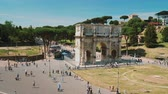 flavian : Rome, Italy - June, 2017: Arc de Triomphe near the Roman Colosseum Stock Footage