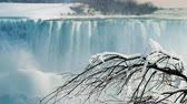 frozen waterfalls : Beautiful winter landscape with Niagara Falls. An icy tree in the foreground, a view from the Canadian coast Stock Footage