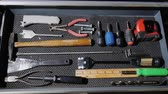 gümüş eşya : Male hands open a drawer with various hand tools. make a thing with your own hands concept, start-up