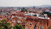 Beautiful European cities - Graz in Austria. View of the old part of the famine with tiled roofs Stock Footage