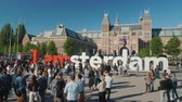 i city : Amesterdam, Netherlands, May 2018: The famous symbol I am Amsterdam, an obligatory place for selfi photos for all tourists.