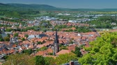 View from the top of the picturesque town of Wernigerode - a city in Germany in the federal state of Saxony