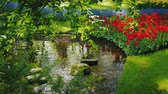 díszítő : Beautiful park with a clean river and a beautiful flower bed with colorful spring flowers Stock mozgókép