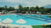 vše : Kemer, Turkey, June 2018: Large swimming pool and leisure infrastructure in a Turkish hotel