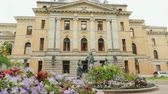 oslo : Oslo, Norway, July 2018: Beautiful theater building in Oslo, the capital of Norway