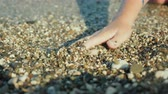 ток : A womans hand is looking for something in shallow pebbles on the edge of the sea Стоковые видеозаписи