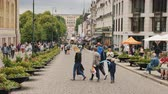 oslo : Oslo, Norway, July 2018: Street life in Oslo - A view along the Karl Johans Street towards the Royal Palace. A beautiful and busy street with lots of cafes and shops