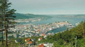 wagons : Beautiful city of Bergen in Norway, view from the upcoming wagon train car