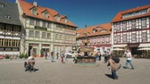 red square : Wernigerode, Germany, May 2018: The square with an ancient fountain, the small town of Wernigerode in Germany