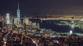 kuruluş : Manhattan aerial panorama cityscape skyline. Timelapse. Zoom out shot