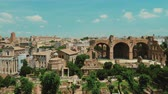 coliseum : The Roman forum on a clear summer day. One of the most famous places in Rome Stock Footage