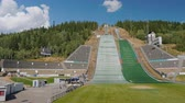 lyže : Lillehammer, Norway, July 2018: Sports complex with a springboard, where athletes competed at the Winter Olympics in 1994