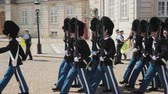 Копенгаген : Copenhagen, Denmark, July 2018: The honorary armed guard is changing the guard to the palace in Copenhagen Стоковые видеозаписи