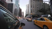 pov : New York, USA, September 2018: View from the window of the New York taxi. Driving through the center of Manhattan. Timelapse video