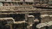 doolhof : Rome, Italy - June, 2017: Labyrinth of ancient tunnels in the Roman Coliseum Stockvideo