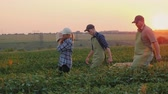 A pair of farmers with their son are carrying boxes of harvest across the field. 動画素材