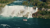 граница : Aerial view of famous Niagara River and Niagara Falls