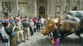 bika : New York, USA, October 2018: A lot of people try to take pictures next to statue of an Charging Bull Stock mozgókép