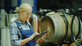 A woman uses a tablet in a winery workshop, in the background are wooden barrels