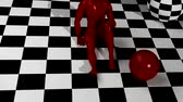 contrastes : animated in 3d checkered composition with red man end red balls Stock Footage