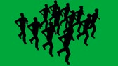 bez szwu : 3d animation of Silhouettes of people running - separated on green screen Wideo