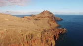 madeira : flying above Sao Lourenco peninsula, Madeira, aerial view Stock Footage