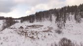 bashkortostan : Panoramic aerial view of a farm for breeding horses in winter. Stock Footage