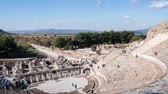 ephesus : Timelapse Theatre of Ephesus Ancient City at november at sunny day, Turkey.