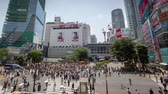 time lapse of pedestrian crossing in the Shibuya district of Tokyo