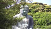 храм : the Giant Buddha in Kamakura appearing behind tree branches