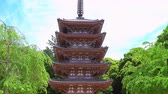 zoom in on five storied pagoda in Daigo-ji temple complex