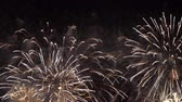 white and golden fireworks show in a dark sky