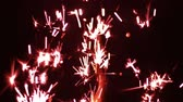 slomo : Pyro Ice Fire Celebration Fireworks Slow Motion Red Stock Footage