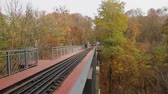 keskeny : people walk through a narrow-gauge railway bridge over a ravine in the park; camera movement from left to right, Full HD; without sound.