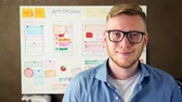 Young UX designer smiling in creative agency office