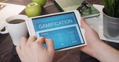 Reviewing gamification app using portable computer Stock Footage