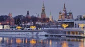 Moscow Russia City Center View on Moscow Kremlin in winter. Time lapse 4K.