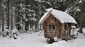 Winter pine forest covered with fresh snow. Small wooden house between trees.
