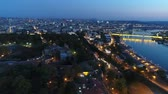 serbia : View of city from above river night 3