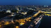 View of the city from above the river night 1 Stock Footage