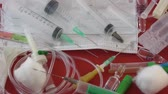 enjekte : Medical syringes for input injection sick Stok Video