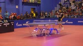 tini : Orenburg, Russia - September 28, 2017: boy compete in the game table tennis TORCH-GAZPROM, Russia and KS DARTOM DJGORIA GRODZISR, Poland