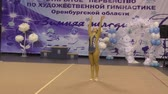 rytmický : Orenburg, Russia - November 25, 2017 year: girl performing exercises with gymnastic hoop in rhythmic gymnastics on the Championship Orenburg region on rhythmic gymnastics Winter melody-2017.