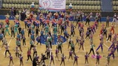aeróbica : Orenburg, Russia - December 9, 2017 year: girls compete in sports aerobics in sports aerobics for the cup of the Orenburg region on fitness and sports aerobics. Stock Footage