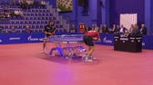 gençler : Orenburg, Russia - September 28, 2017: boy compete in the game table tennis among the teams TORCH-GAZPROM, Russia and KS DARTOM DJGORIA GRODZISR, Poland Stok Video