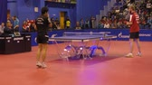 versenyképes : Orenburg, Russia-September 28, 2017: A boy compete in the European Champions League match ping pong torch-Gazprom, Russia and KD Stock mozgókép